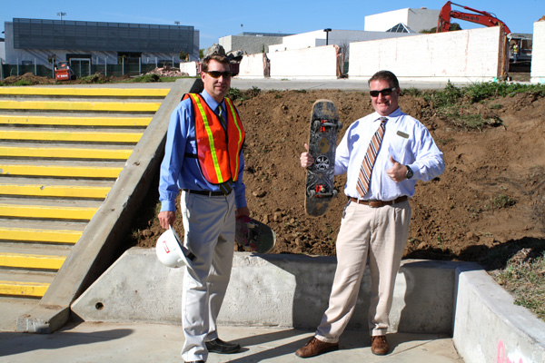 Vice Principals Tom Bloomquist and Bill Lord pose in front of the Carlsbad Gap. 