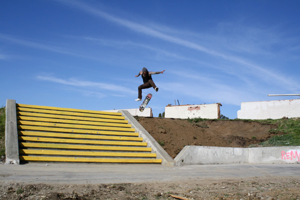 Markovich attempts a final kick flip. 